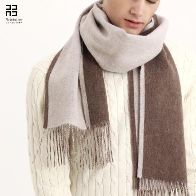 潤帛 純羊絨圍巾男雙面加厚年輕人 秋冬季保暖長款圍脖禮盒裝禮物