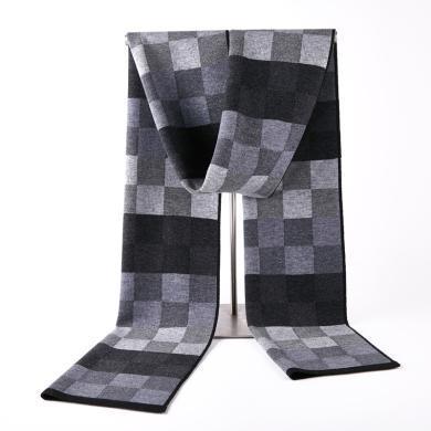 藍天龍羊毛圍巾男新款秋冬季高檔針織圍脖男生日禮物百搭商務潮(0738)