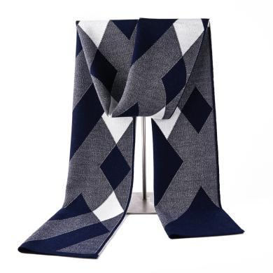 藍天龍羊毛圍巾男新款秋冬季高檔針織圍脖男生日禮物百搭商務潮(0745)