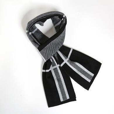 藍天龍羊毛圍巾男新款秋冬季高檔針織圍脖男生日禮物百搭商務潮(0749)