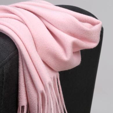 潤帛 cashmere純色山羊絨圍巾秋冬季男女 粉色長款保暖圍脖禮盒裝