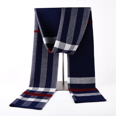 藍天龍羊毛圍巾男新款秋冬季高檔針織圍脖男生日禮物百搭商務潮(0729)