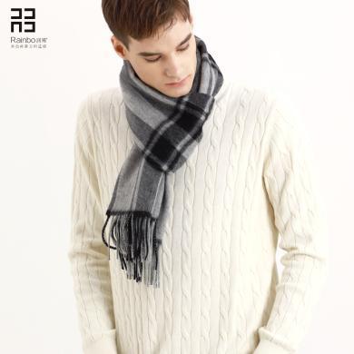 潤帛 商務山羊絨圍巾男士禮盒裝 秋冬季加厚英倫格子圍脖長款保暖