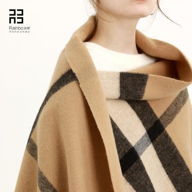 润帛 羔羊绒空调房披肩春秋冬季女加厚 驼色英伦格子羊毛围巾夏