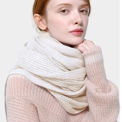 潤帛 鏤空針織純羊毛圍巾女秋冬季長款 韓版純色百搭披肩兩用學生