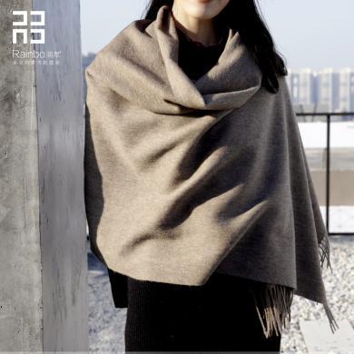 潤帛加厚羊毛圍巾空調大披肩保暖黑色春秋冬季女兩用純色長款圍脖