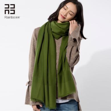 潤帛 加密純羊毛圍巾女薄款 歐美春秋冬季純色酒紅色披肩兩用長款