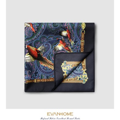 艾梵之家 皇家花鳥紋正方形西服口袋巾男士精美印花小方巾SPY003