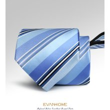 艾梵之家 男士简约拉链领带8CM蓝白黑渐变条纹领带礼盒装LY8005