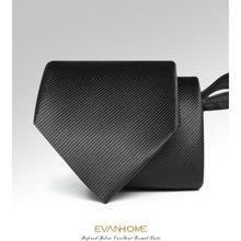 艾梵之家 黑色细斜纹8cm拉链领带男士正装易拉得领带礼盒装LY8001