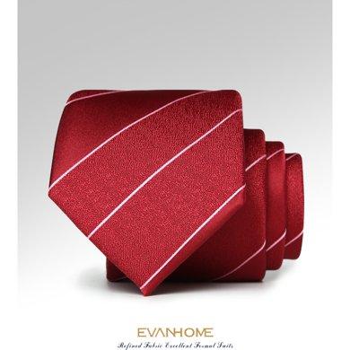 艾梵之家 新款酒紅底條紋領帶時尚7cm結婚款男士正裝領帶L7170