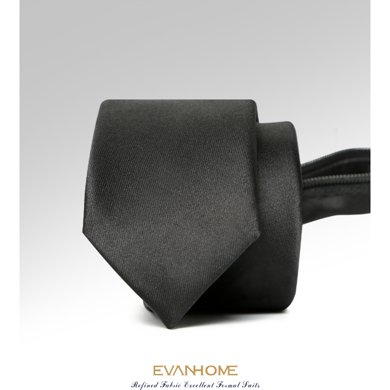艾梵之家 秋季新款時尚韓版純黑色領帶5cm拉鏈領帶禮盒裝LY5001