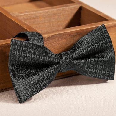 Evanhome/艾梵之家 黑色英倫格紋男士正裝領結 時尚百搭蝴蝶結領結男禮盒裝LJ191