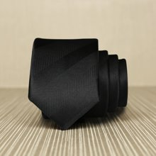 Evanhome/艾梵之家 韩版窄领带男5CM商务休闲领带 纯黑色暗条纹L5013礼盒装