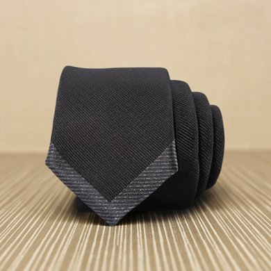 Evanhome/艾梵之家 春季新款男士商務正裝領帶 韓版時尚窄5厘米休閑領帶黑色 L5115