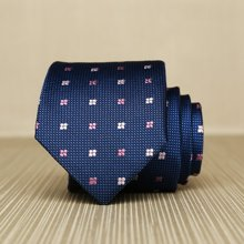 Evanhome/艾梵之家 新款男士职业休闲领带 男商务正装7cm桑蚕丝领带深蓝四叶花纹ZS7233