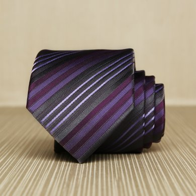 Evanhome/艾梵之家 防水領帶男士 休閑百搭7cm英倫商務領帶 紫灰色條紋L7015