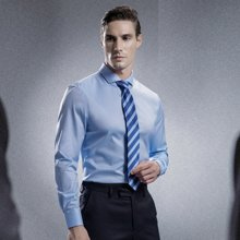 Evanhome/艾梵之家 新款商務領帶藍色條紋領帶男正裝商務休閑7CM英倫桑蠶絲領帶 ZS7113