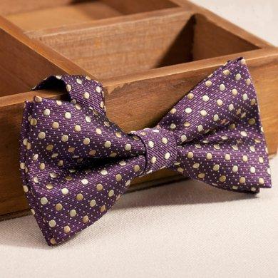 Evanhome/艾梵之家 男士休閑白搭商務領結時尚韓版紫色黃點蝴蝶結領結禮盒裝LJ179