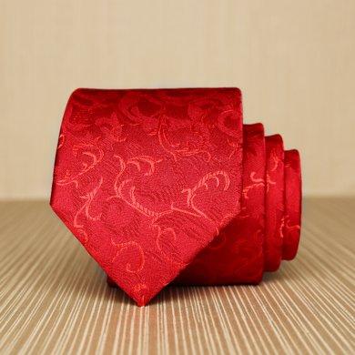 Evanhome/艾梵之家 新款結婚禮服領帶男 新郎伴郎婚慶領帶酒紅花紋L7120