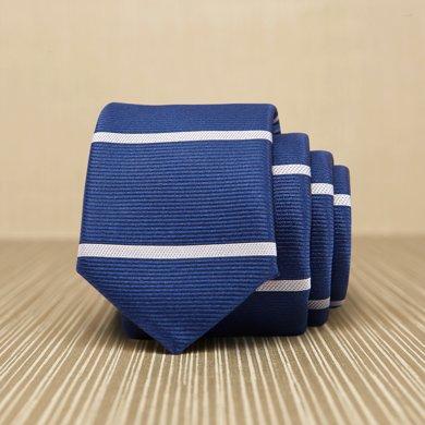 Evanhome/艾梵之家 春季新款男士商务休闲领带 藏青色白条纹韩版领带男时尚L5116