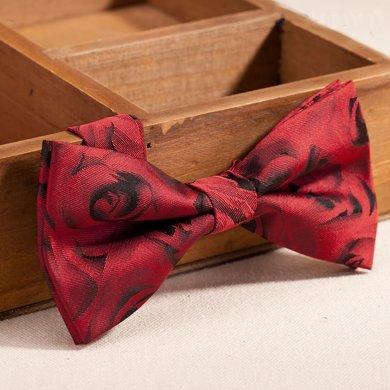 Evanhome/艾梵之家 春季新款結婚領結新郎禮服蝴蝶結領結紅底玫瑰花紋LJ168