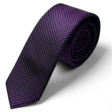Evanhome/艾梵之家 韩版窄款领带5cm商务休闲细领带男 深紫色渐变格形L5057