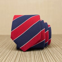 Evanhome/艾梵之家 納米防水韓版窄領帶 休閑5cm窄領帶 紅色英倫條紋 L5031