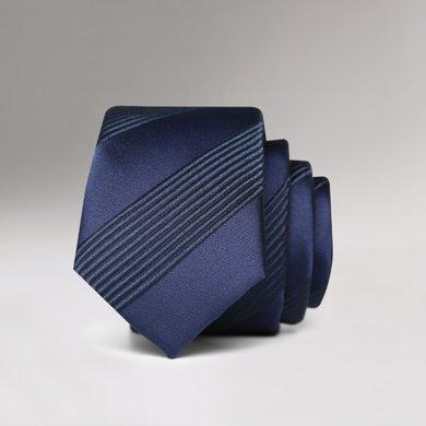 Evanhome/艾梵之家 新款5CM韓版窄領帶藏青色黑斜條紋百搭男士襯衫領帶L5142