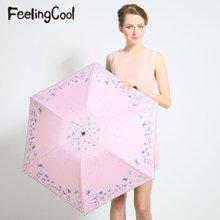 飞兰蔻 新品防紫外线太阳伞黑胶遮阳伞