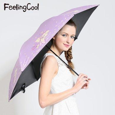 飛蘭蔻 輕太陽傘黑膠強防紫外線遮陽傘繁花似錦