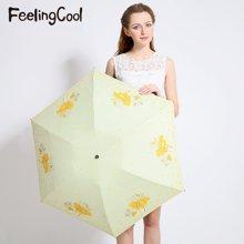 飞兰蔻 轻太阳伞黑胶强防紫外线遮阳伞繁花似锦