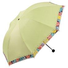 天堂伞不锈钢龙骨 黑胶花边防晒伞 三折叠太阳伞 遮阳伞 晴雨伞 30169EWWP