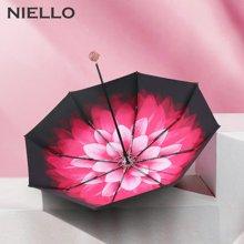 NIELLO奈洛创意礼品太阳伞双层三折防晒伞黑胶遮阳伞晴雨两用伞玲珑礼盒装