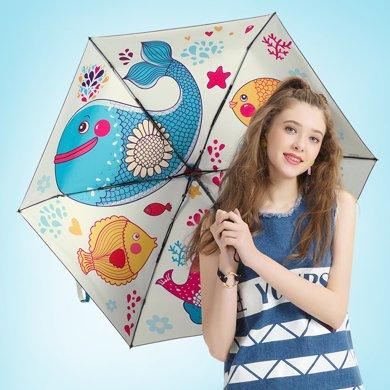 easily太陽傘五折輕巧雨傘 女防曬防紫外線女折疊晴雨傘兩用三折黑膠遮陽傘
