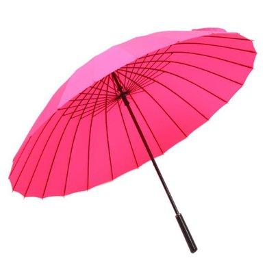 BET.纯色24骨长柄手开遮阳防风伞 超大商务直杆晴雨伞6021