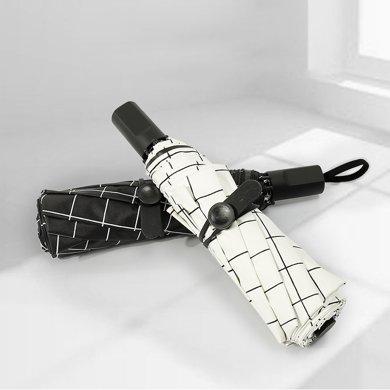 BET.晴雨傘格子黑膠8股折疊雨傘時尚黑膠太陽傘6010