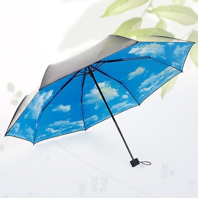 BET.防曬防紫外線太陽傘創意藍天白云黑膠三折傘6039