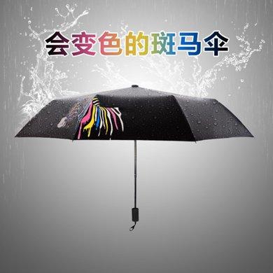 BET.创意折叠遇水变色斑马太阳伞黑胶遮阳防晒伞女防紫外线晴雨伞258