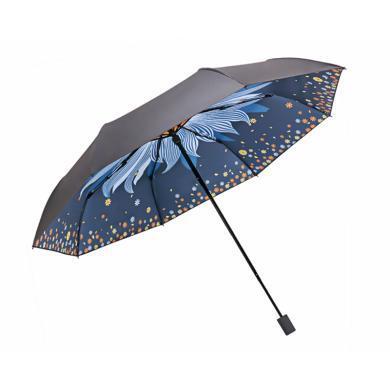 天堂傘 晴雨傘太陽傘遮陽傘三折黑膠防曬傘小黑傘 望日蓮33619E