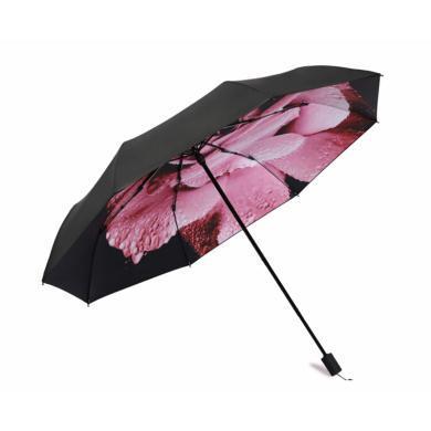 天堂伞 小黑伞女折叠太阳伞防晒防紫外线黑胶伞雨露玫瑰33537E