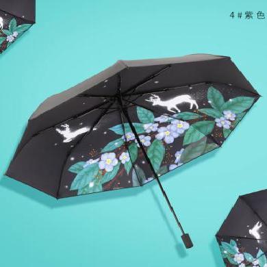 天堂傘 全遮光碰擊黑膠三折晴雨傘夢幻麋鹿33540E