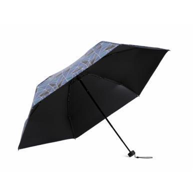 天堂伞 全遮光黑胶转印五折晴雨伞53038E
