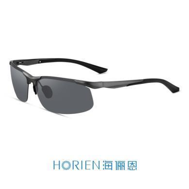 海儷恩2019新款鋁鎂弧彎潮太陽鏡男運動休閑開車專用偏光墨鏡N6773