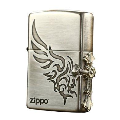 ZIPPO打火机(3面侧十字徽章-银色)