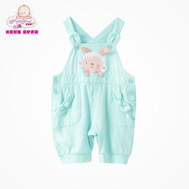 丑丑嬰幼女童背帶褲夏季新款女寶寶百搭時尚背帶褲 女寶外出服