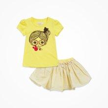 丑丑婴幼女童公主套装夏季新款女宝宝圆领短袖套装女童短裙套装