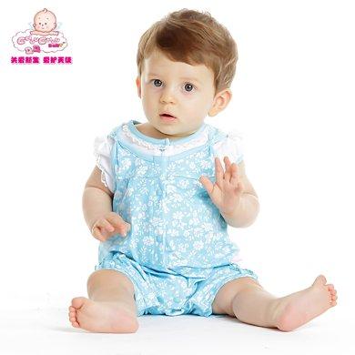 丑丑嬰幼新生兒連體爬服夏季新款女寶寶碎花哈衣女童短袖哈衣爬服