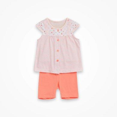 丑丑嬰幼女童前開短袖套裝夏季新款女寶寶短套裝外出服6-18個月 CHE757X