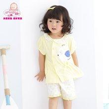 丑丑嬰幼女童時尚圓領套裝夏季新款女寶寶圓點斜開套裝6個月-2歲
